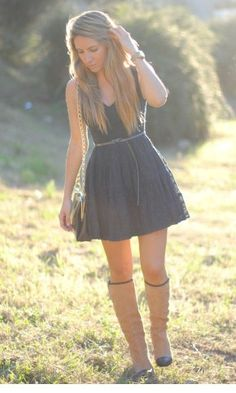 love the boots and dress combo