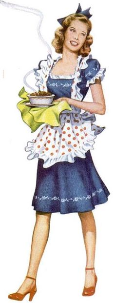 Serving up some lovin' from the oven in an adorable frilly polka dot print apron.