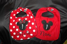 I'm only repinning this because my name is on the Minnie one. Wow they are the cutest bibs I've ever seen. My future child will have this.