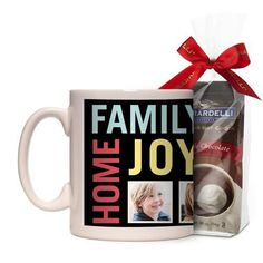 Family Home Joy Mug, White, with Ghirardelli Premium Hot Cocoa, 11 oz, Black