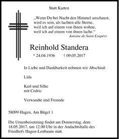 Traueranzeige Reinhold Standera