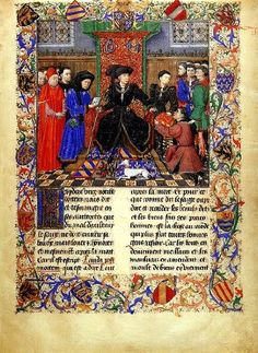 In this task scene we recognize the right of Philip the Good, Jean Chevrot, bishop of Tournai, and Chancellor Nicolas Rolin (with booklet) in the company of other political dignitaries. To the left of the Duke are the young Charles the Bold and some knights of the Golden Fleece. Miniature by the Master of the Girart Roussillon Jean Wauquelin, the Roman Girart Roussillon, 1448. Vienna, Austrian National Library, Cod. 2549, fol. 6
