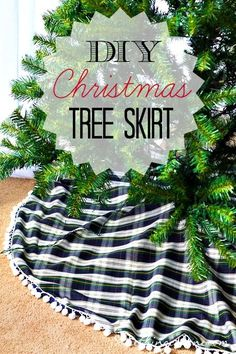 DIY Christmas Tree Skirt - Instructions for sewing a tree skirt with pom pom trim and ribbon closures.