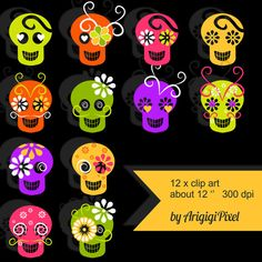 with by ArigigiPixel Halloween Clipart, Halloween Items, Selling Handmade Items, Sugar Skull, Holiday Gifts, Etsy Seller, Clip Art, Packaging Supplies, Etsy Shop