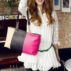 Price:$19.99 Color: Blue / Pink / Orange Material: PU Chain splicing embossed mixed colors vintage fashion crossbody shoulder bag