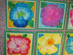 "O'Keefe-style watercolor flower paintings; 12"" X 12""; lesson by art teacher: Susan Joe"