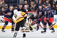 Blue Jackets vs. Penguins - 02/17/2017 - Pittsburgh Penguins - Photos Goaltender Sergei Bobrovsky #72 of the Columbus Blue Jackets follows a shot taken by Trevor Daley #6
