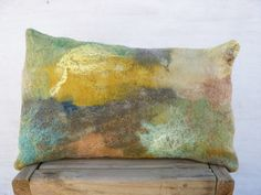 Felt pillow Handmade Art felt Wool cushion by TexturableDecor Felt Cushion, Felt Pillow, Felt Pictures, Textiles, Floor Art, Felt Decorations, Nuno Felting, Handmade Felt, Felt Art
