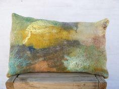 Felt pillow Handmade Art felt Wool cushion by TexturableDecor