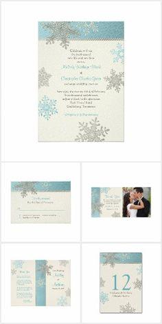 Blue Silver Ivory Snowflake Wedding Invitation Set