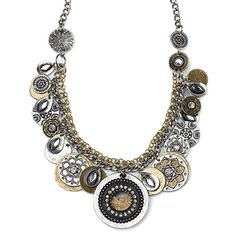TIMES SQUARE Item #: USML100037 A bold blend of mixed textures and intricately designed gold and silver discs will put you right at the center of attention. Measures 23 inches. Your Price:$72.00