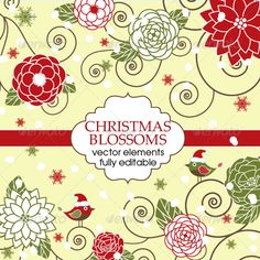 This set include Christmas blossoms, snow, birds, frame vector elements, fully editable.