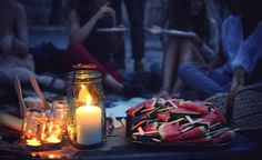candlelight picnic paris watermelon slices/// So I phoned candlelight expert and event planner David Stark, author of the new book The Art of the Party. Here are his top tips: Night Picnic, Picnic Spot, Watermelon Popsicles, Watermelon Sticks, Light My Candle, Star Party, Kinfolk, Look Younger, Outdoor Camping