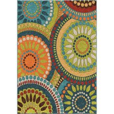 Orian Rugs Veranda Collection Merrifield Collage Green Area Rug