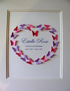 Getting this one day for Elaina!!! CUSTOM Memorial 3D Heart of Butterflies by aboundingtreasures, $40.00.