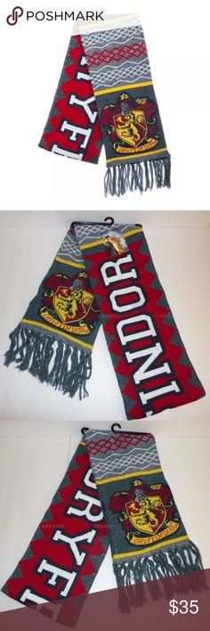 "Harry Potter House Gryffindor Winter Scarf This Harry Potter scarf reads ""Gryffindor"" and has the Lion / Gryffindor House crest on the ends.   Theme: Harry Potter - Officially Licensed House:  Gryffindor Length: Roughly 72 Inches, not including the fringe / tassels at the end. Material: 100% Acrylic Brand: Bioworld  Show off your house pride in the winter months!  Hang it on the wall during the warmer months.  Perfect for Cosplaying, or just going out and looking good.  Makes a great gift…"