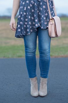 Spring Must Haves: Blush Saddle Bag, Neutral Booties, Floral Swing Top