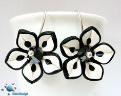 Black and white flower earrings | Flickr - Photo Sharing!
