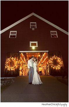 Outside the barn at nighttime Smith Barn at Brooksby Farm by Heather Chick Photography
