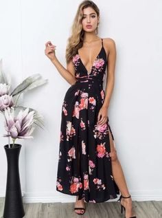 b929845ff43 Black Deep V-Neck Floral Backless Dressy Jumpsuit