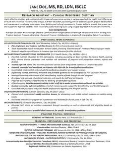 Registered Dietitian Resume For Qa Tester  Pinterest  Template And Sample Resume