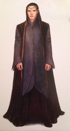 """Concept art of Lindir from """"The Hobbit: An Unexpected Journey"""" (2012).  As with most of the male elves from the Rivendell scenes, Lindir was dressed in tailored robes of metallic brocade and cloque."""
