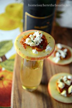 Baked pancetta, crumbled goat cheese, and a drizzle of honey top apples slices for an easy, salty-sweet appetizer that's light and delicious! Perfect for serving alongside heavier hors d'oeuvres fo...