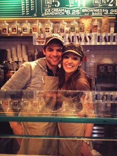 Laura & Jeremy selling cookies for Broadway Bakes