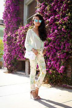 Loeffler Randall Bag, Steve Madden Heels, Paige Verdugo Jeans In Flea Market Floral, Westward Leaning Sunglasses, Marc By Jacobs Bracelet - ...