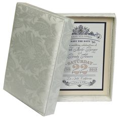 Two-Piece Invitation Box in Ivory Damask by Trend Weddings & Events