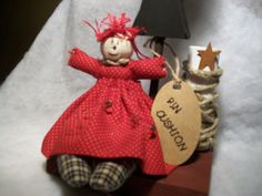 Primitive Folk Art Doll Pin Cushion/ Shelf by HarmonyTwentyOne, $18.00