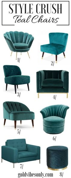 Interiors home d�cor teal occasional accent chairs. Velvet tufted brass gold stool cocktail chair green blue