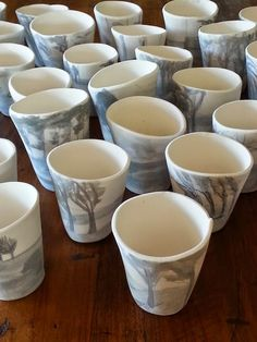 bisqued cups from kiln Pottery Studio, Surface Design, Ceramics, Tableware, Projects, Bowls, Ceramic Studio, Ceramica, Log Projects