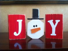 Wood JOY Christmas block set  wood Christmas by WoodnExpressions, $15.00