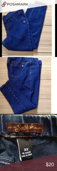 SOUTH POLE Jeans Great dark wash he ans with cute gold metal studs down each outer leg. Elastic waist so a comfortable pair of jeans ! Excellent condition . South Pole Jeans Skinny