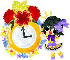 母の日のフリーイラスト素材可愛い女の子とカーネーションの時計  Free Illustration of Mothers day A cute girl and a clock of carnations   http://ift.tt/2qowzdr