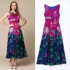 Free Shipping Holiday Style 2014 Summer Dress Charming Printed Chiffon Silk Long Dress 140509ZZ03 $66.00