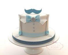 Little man moustache bow tie cake