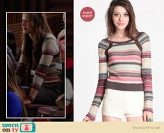 This sweater that Marley wore a couple of months ago on Glee is by Free People and still available for $108 http://wornontv.net/8063