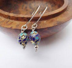 Cloisonne earrings blue earrings drop earrings sterling