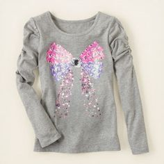 girl - long sleeve tops - ruched sleeve embellished top | The Children's Place | size 5/6 small, for Victoria