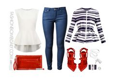 Striped PEPLUM, Hot red heels, spiked clutch. Perfect outfit for a Labor Day bash