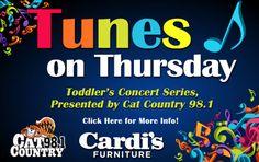 Upcoming Community Events U2013 Cardiu0027s Furniture Store Toddler Tunes Thursdays  @ 11am. Free! Free