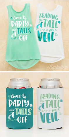 IN LOVE with these mermaid gang bachelorette party shirts and koozies! Time to Party Our Tails off and Trading my Tail for a Veil mermaid bride shirts. perfect for the bride and bridemaids! ♥️ By http://Bachette.com