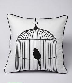 Bird in Cage Decorative Pillow Cases Cheap Decorative Pillows, Decorative Pillow Cases, Throw Pillow Cases, Throw Pillows, Sofa Cushion Covers, Cushions On Sofa, Pillow Covers, Bird Pillow, Pillows Online