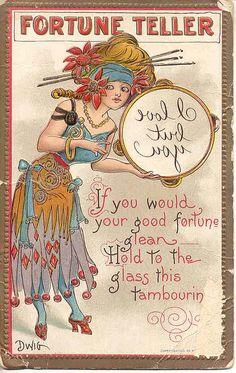 Vintage Dwig Fortune Teller postcard by Woof Nanny, via Flickr