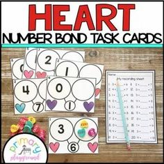 Heart Number Bond Task Cards 1-10 Center - Primary Playground