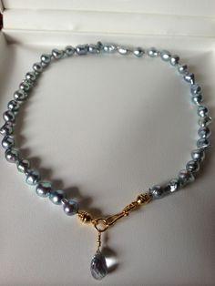Wild Blue Akoya Pearl Necklace 22KT Vermeil - YUM!