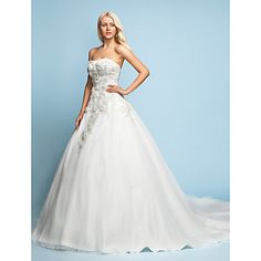 A-line/Princess Strapless Court Train Lace Wedding Dress – USD $ 399.99