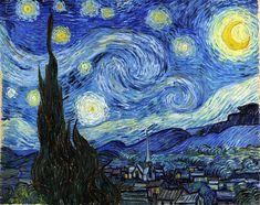 """Impresión de arte """"La Noche Estrellada"""", obra sobre lienzo de Vincent Van Gogh."""